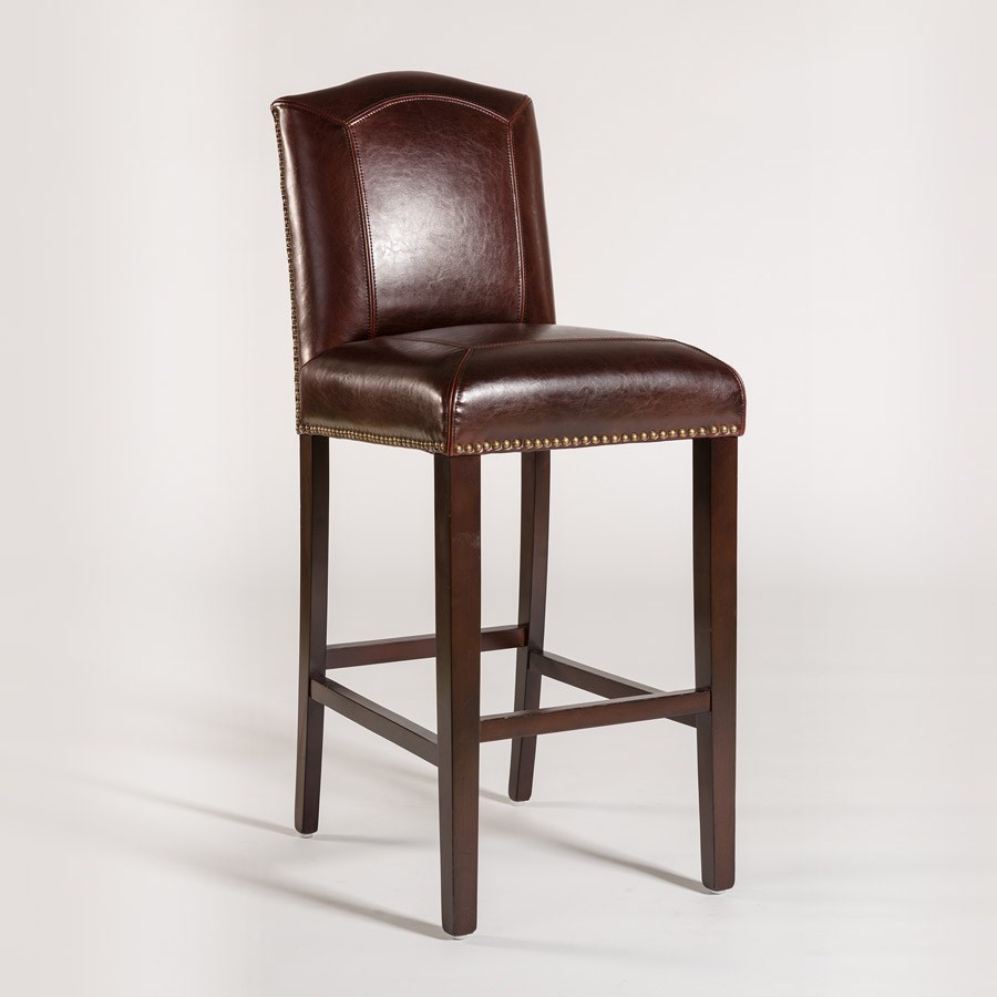 Alder Tweed Cloister Bar Height Stool With Leather Back And Seat