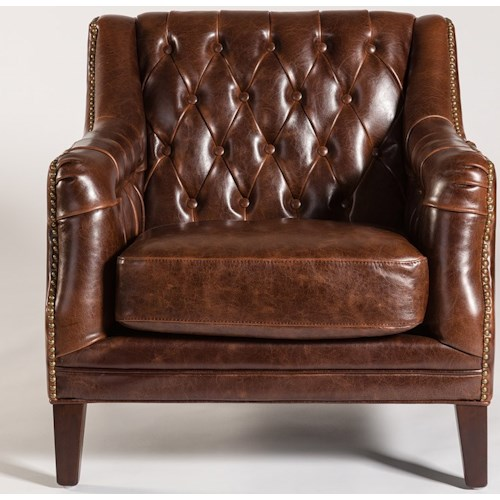 Alder Tweed London Antique Like Leather Chair With Tufted Back