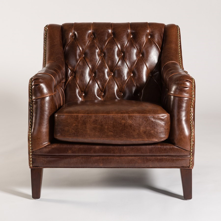 London Antique-Like Leather Chair with Tufted Back by Alder u0026 Tweed  sc 1 st  Furniture Mart Colorado & Alder u0026 Tweed London Antique-Like Leather Chair with Tufted Back ...