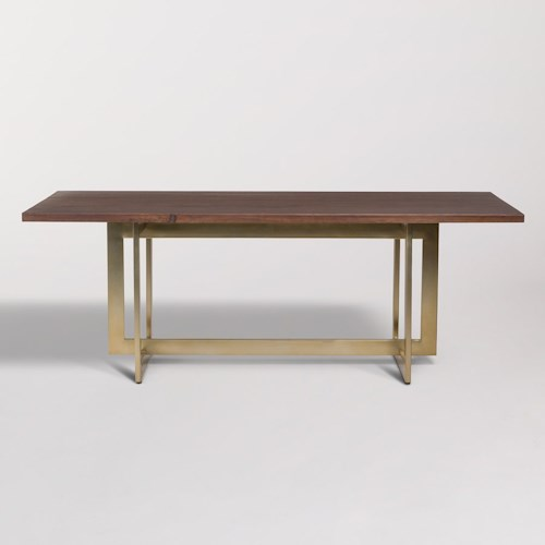 Alder Tweed Manhattan Dining Table With Antique Brass Trestle Base