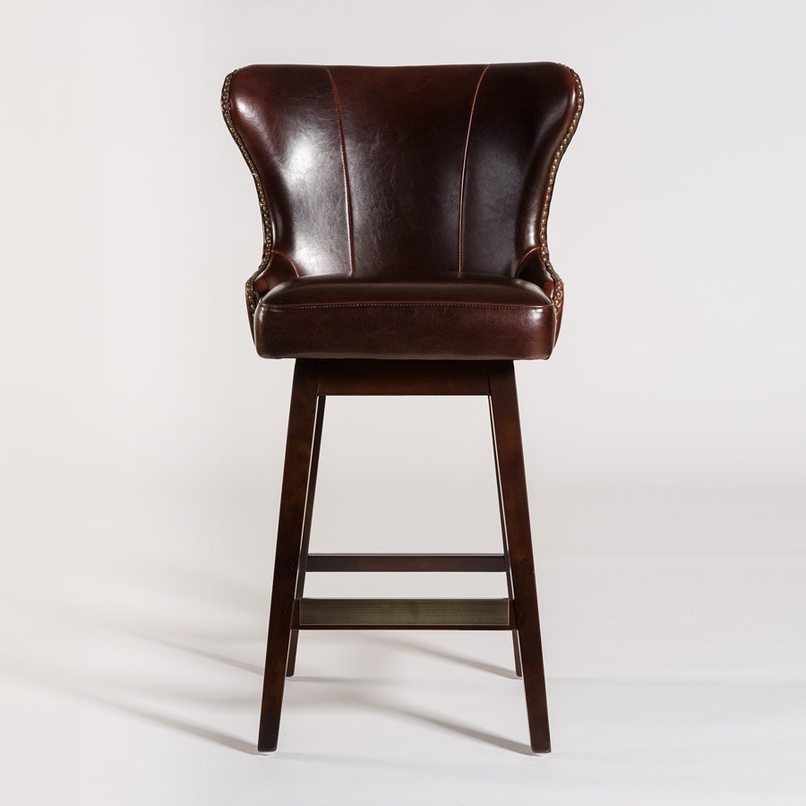 Alder Amp Tweed Rockwell Upholstered Leather Counter Stool