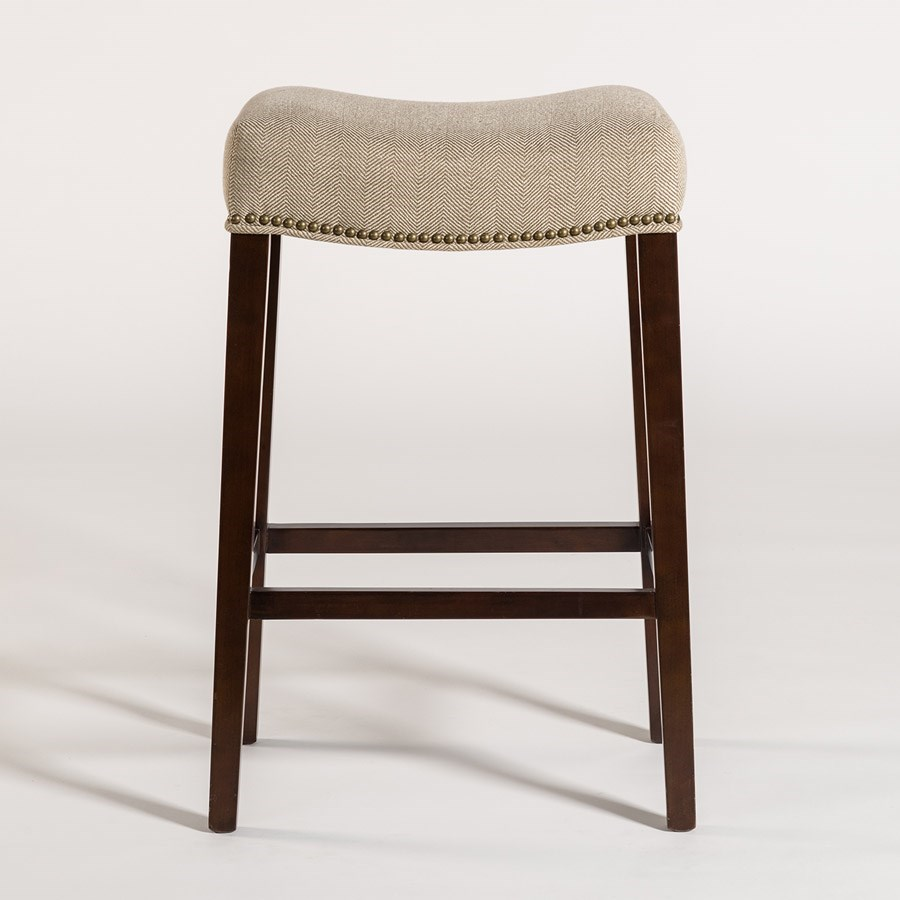 Alder U0026 Tweed AT00 Rectangular Saddle Counter Stool With Khaki Herringbone  Fabric