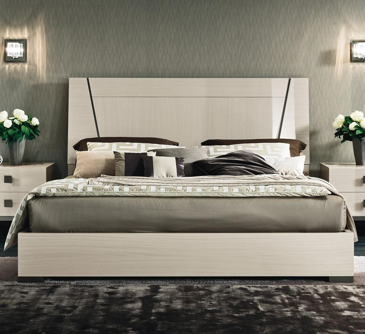 Alf italia mont blanc king low profile bed with wood headboard
