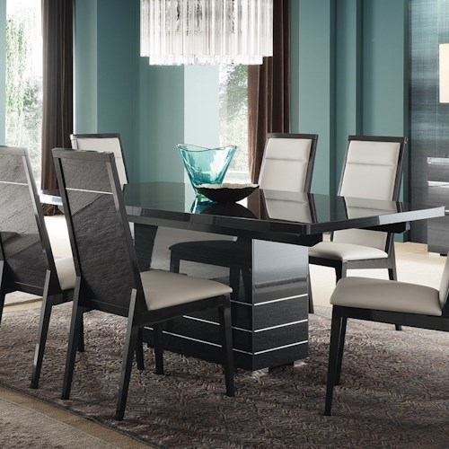 Alf Italia Versilia Contemporary Dining Table With Gloss Black Finish