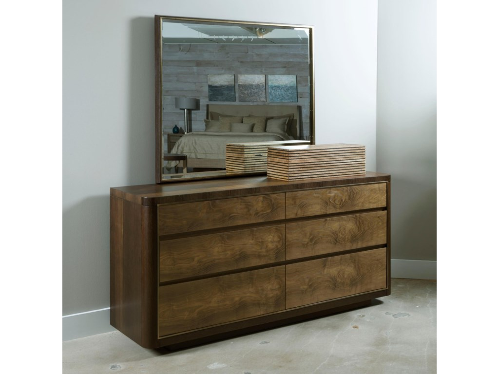 American Drew Ad Modern OrganicsHoward Six Drawer Dresser and Mirror