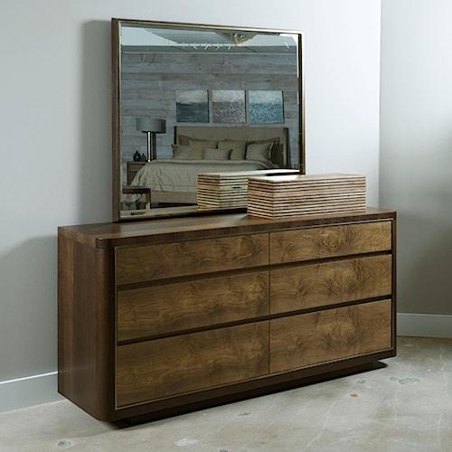 American Drew Ad Modern Organics Howard Six Drawer Dresser and Mirror with Frame