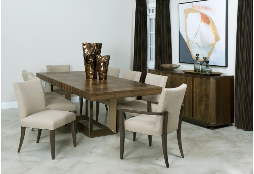 Ad Modern Organics Benton Dining Arm Chair with Upholstered Seat by  American Drew at Northeast Factory Direct