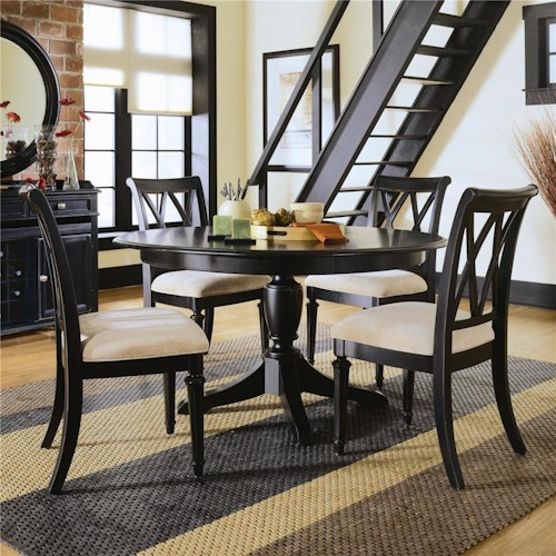 American Drew Camden - Dark Round Dining Table with Splat Back Chairs