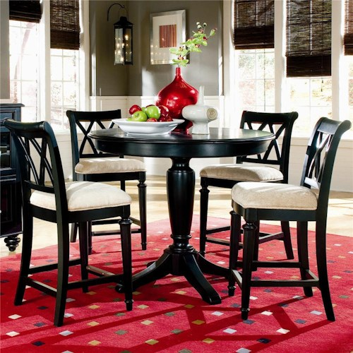 American Drew Camden - Dark Counter Height Table with Splat Back Stools