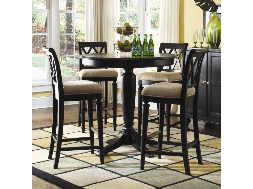 American Drew Camden - DarkBar Height Pedestal Table with Stools