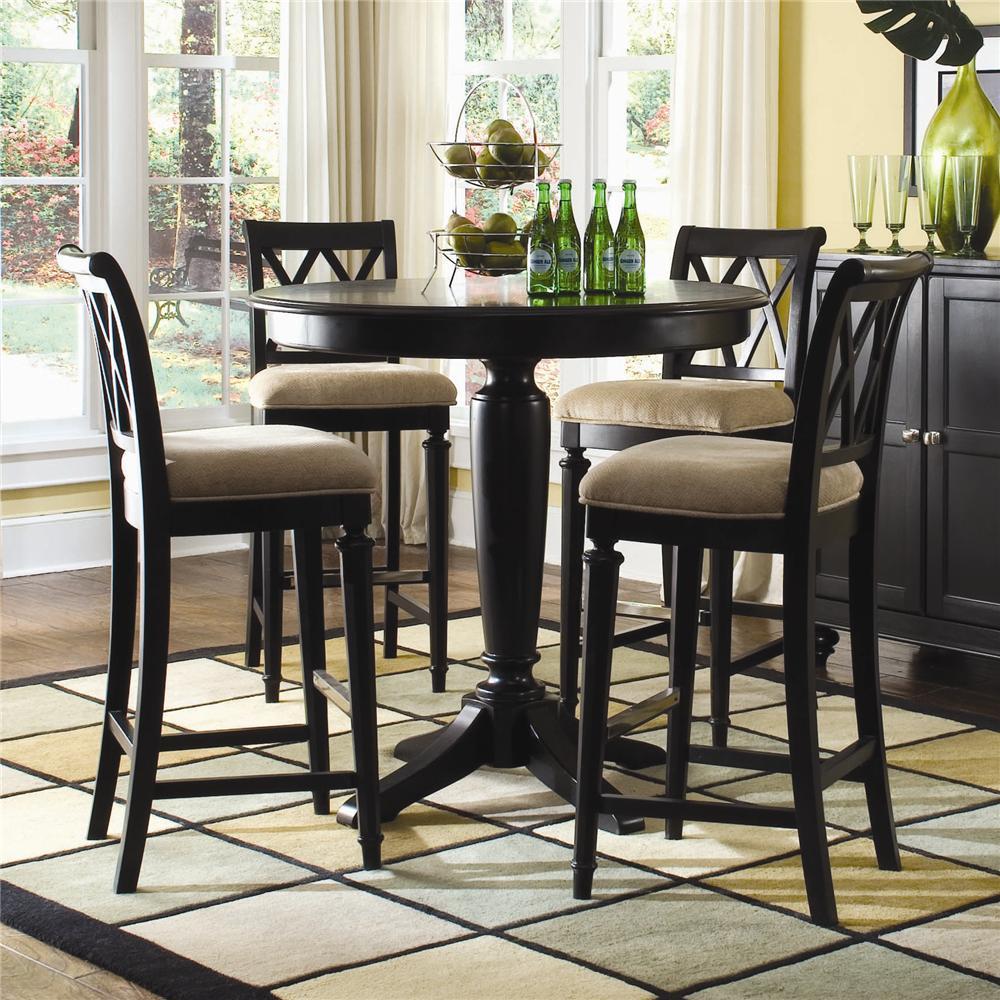 American Drew Camden   DarkBar Height Pedestal Table With Stools