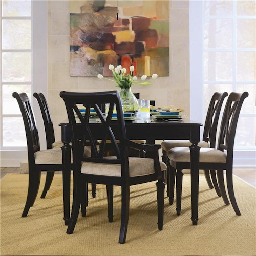 American Drew Camden - Dark Rectangular Dining Set with Splat Back Chairs