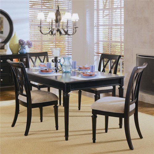 American Drew Camden - Dark Rectangular Dining Table with Splat Back Chairs