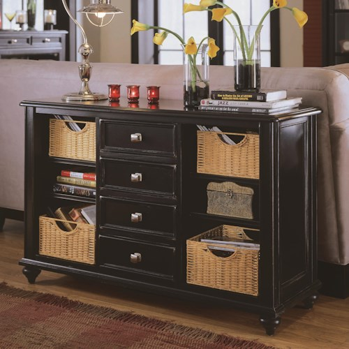 American Drew Camden Dark Console Table With 4 Drawers And Baskets
