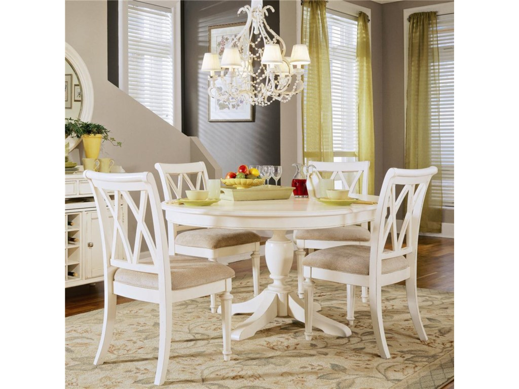Round Table Shown with Cut-Out Back Chairs