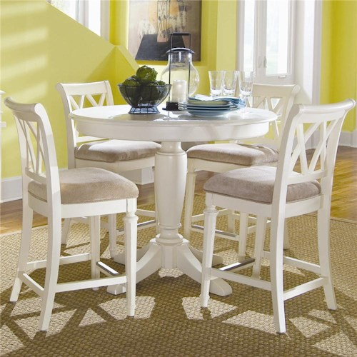 American Drew Camden - Light Counter Height Table with Splat Back Stools