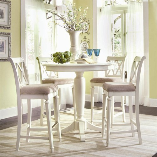 American Drew Camden - Light Bar Height Gathering Table with Splat Back Stools
