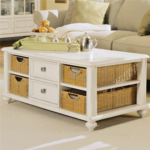 American Drew Camden - Light Cocktail Table with 4 Baskets