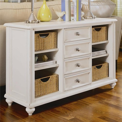 American Drew Camden - Light Console Table with 4 Drawers and 4 Baskets