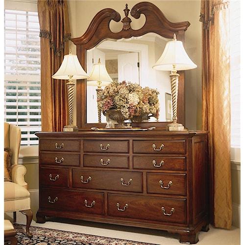 American Drew Cherry Grove 45th Triple Dresser with Landscape Mirror