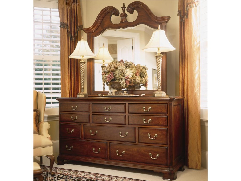 American Drew Cherry Grove 45thLandscape Mirror and Triple Dresser