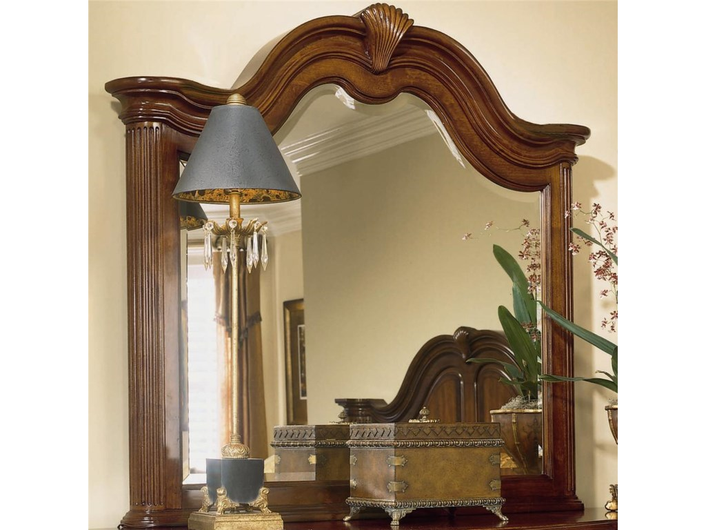 American Drew Cherry Grove 45thTriple Dresser and Landscape Mirror