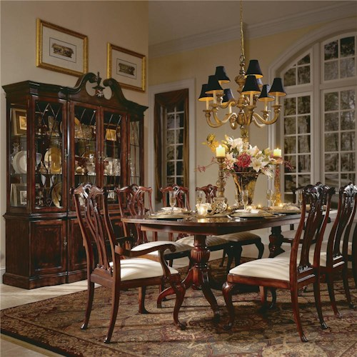 American Drew Cherry Grove 45th 9 Piece Double Pedestal Table Dining Set