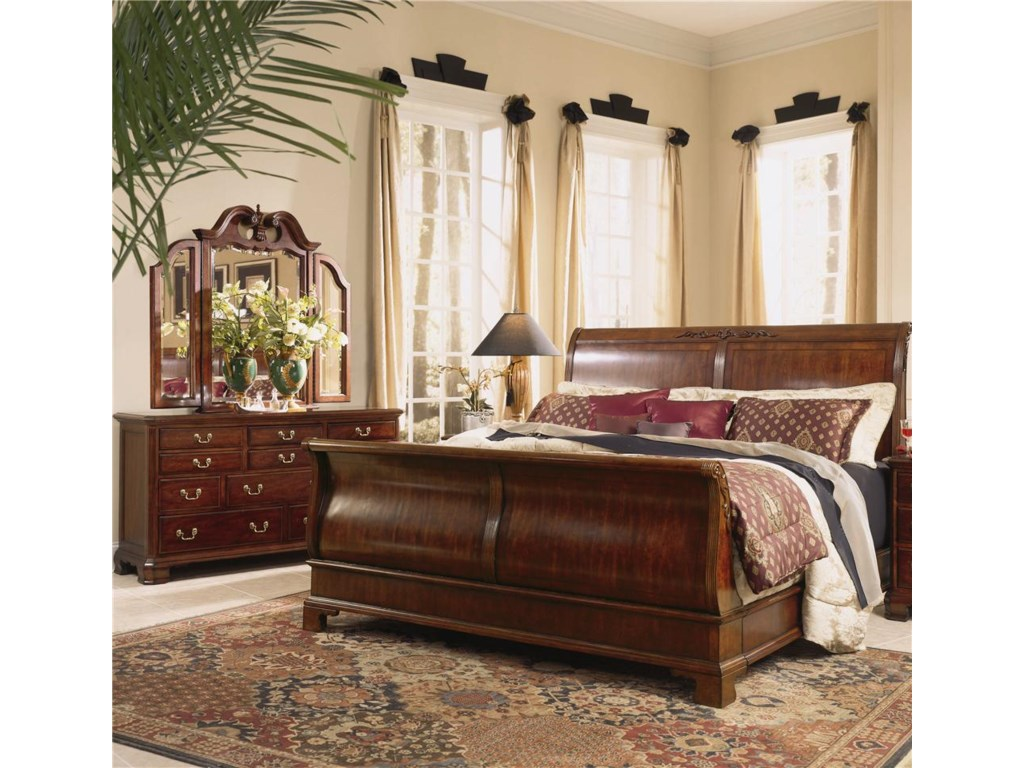 Shown with Sleigh Bed and Tri-Fold Mirror