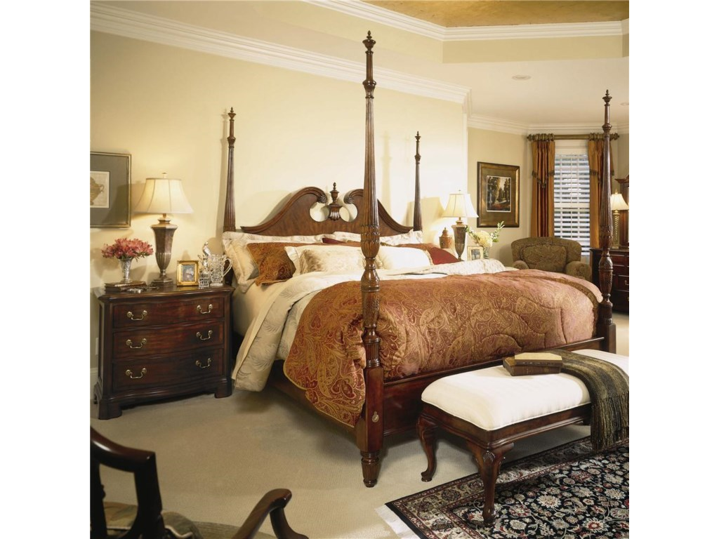 American Drew Cherry Grove 45thQueen Pediment Poster Bed
