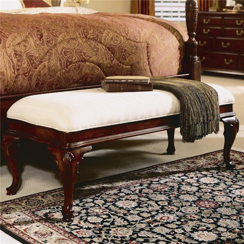 American Drew Cherry Grove 45th Traditional Bed Bench with Cabriole Legs