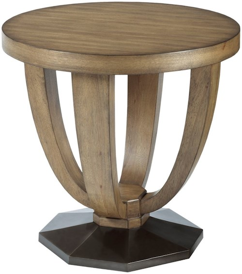 American Drew EVOKE  Round End Table with Metal Base