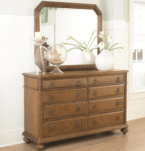 American Drew Grand Isle 8-Drawer Dresser & Landscape Mirror with Island-Inspired Design