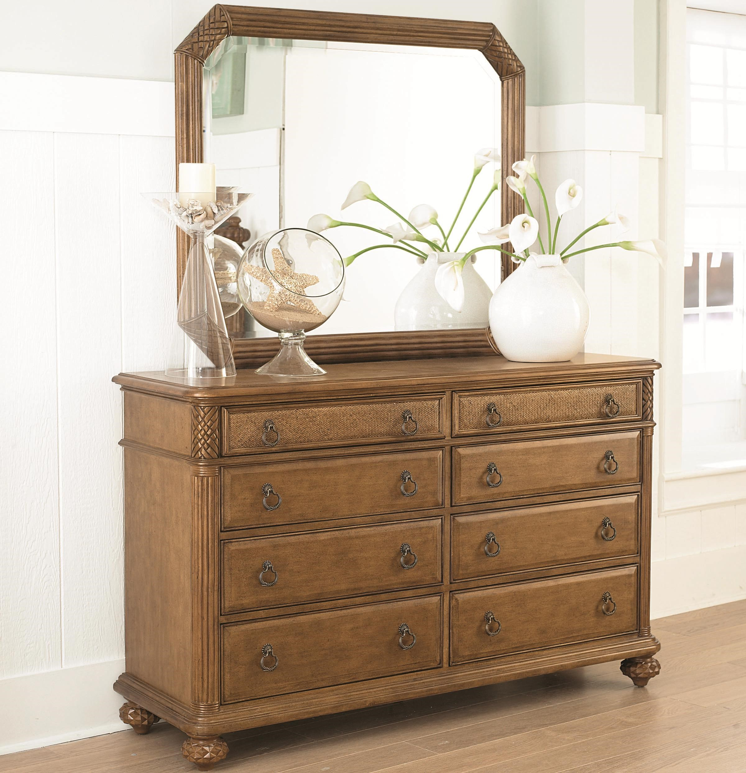 American Drew Grand Isle 8 Drawer Dresser U0026 Landscape Mirror With  Island Inspired Design