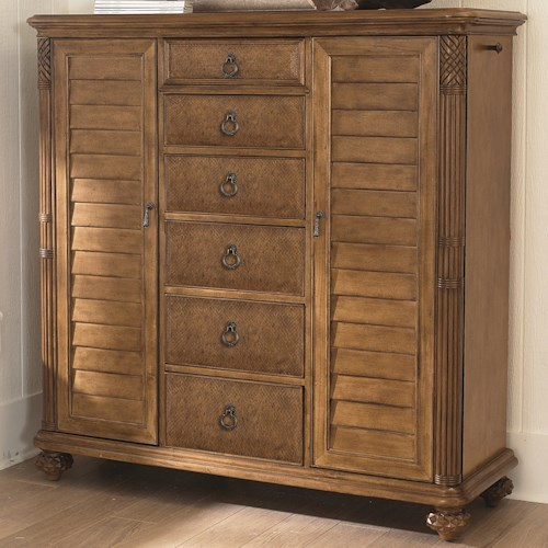 American Drew Grand Isle 2-Door 6-Drawer Dressing Chest with Louvre & Island-Inspired Carving Details
