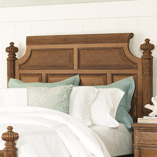 American Drew Grand Isle King/California King-Size Woven Panel Island Headboard with Carved & Fluted Details
