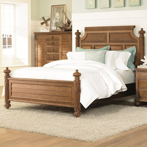 American Drew Grand Isle Queen-Size Island Headboard & Footboard Bed with Woven Panels & Carved Textural Details