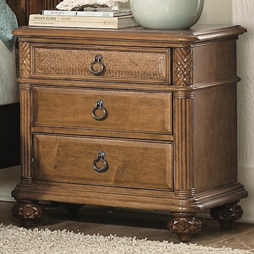 American Drew Grand Isle 3-Drawer Nightstand with Carved & Fluted Accents & Custom Made Hardware