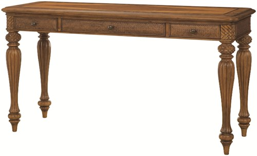 American Drew Grand Isle Desk with 3 Drawers and Turned Legs