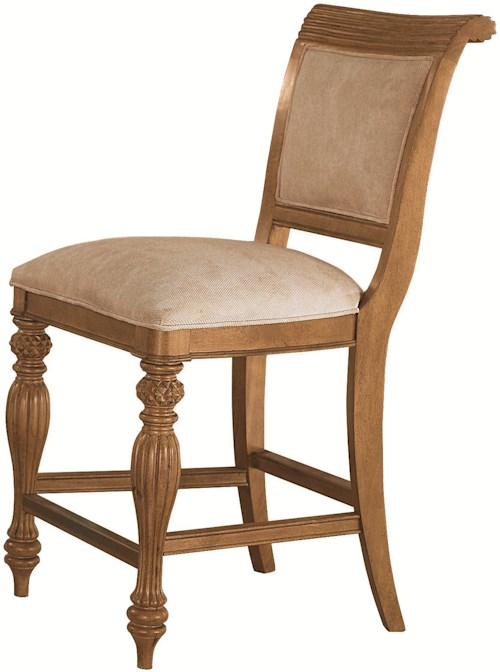 American Drew Grand Isle Island-Inspired Counter Height Barstool with Woven Back & Upholstered Cushion Seat
