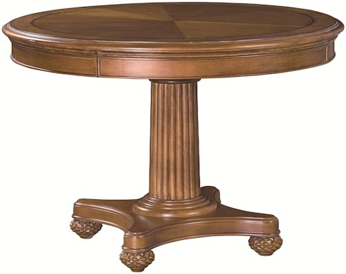 American Drew Grand Isle Round Single Pedestal Dining Table with Fluted Details & One 20