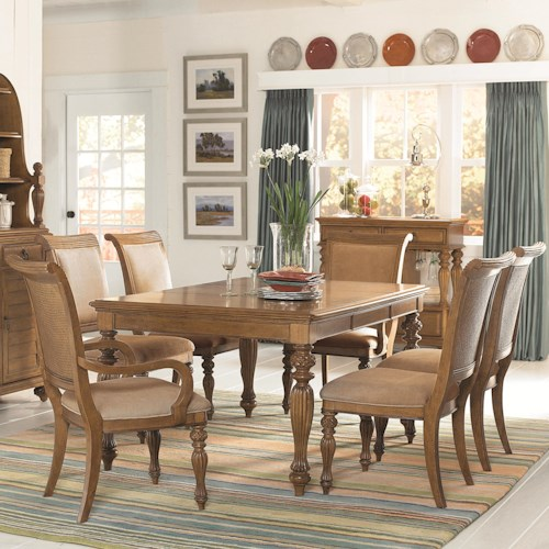 American Drew Grand Isle 7-Piece Rectangular Turned/Carved Leg Dining Table with Two 20