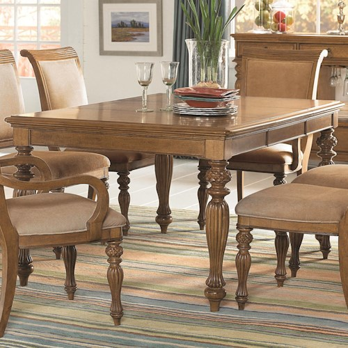 American Drew Grand Isle Island-Inspired Rectangular Turned Leg Dining Table with Carving Details & Two 20