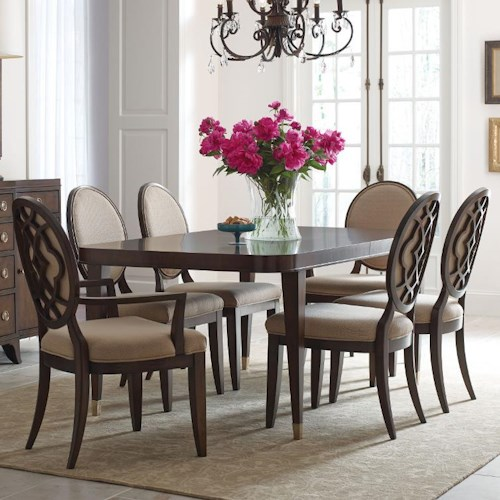 American Drew Grantham Hall 7 Piece Table and Chair Set with Decorative Back Arm Chairs