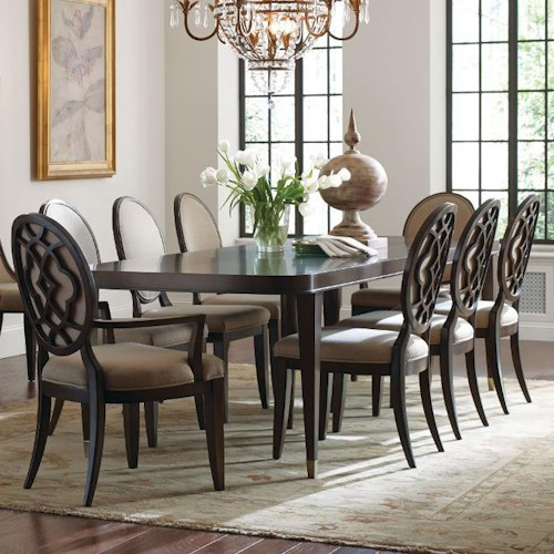 American Drew Grantham Hall 9 Piece Table and Chair Set with Decorative Back Arm Chairs