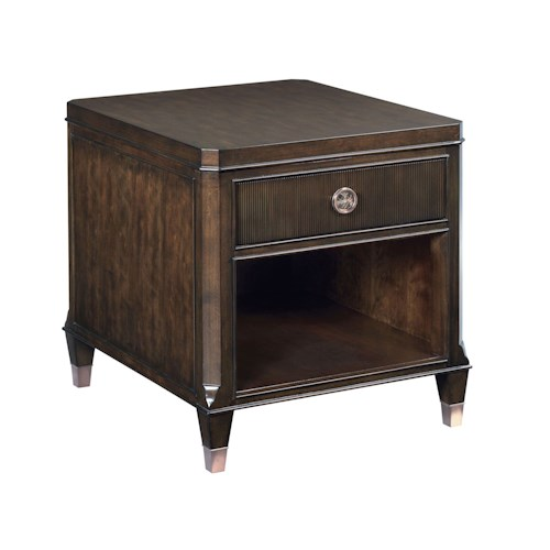 American Drew Grantham Hall 1 Drawer End Table with Open Storage Area