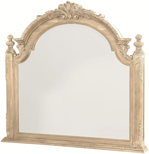 American Drew Jessica McClintock Home - The Boutique Collection Landscape Mirror with Carved Pediment Top