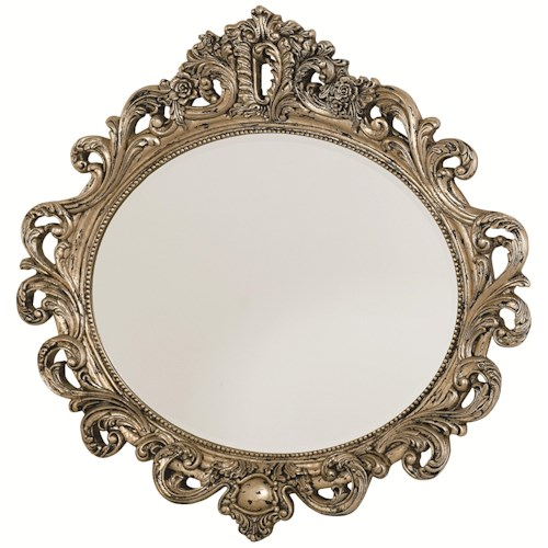 American Drew Jessica McClintock Home - The Boutique Collection Oval Decorative Mirror with Silver Veil Finish