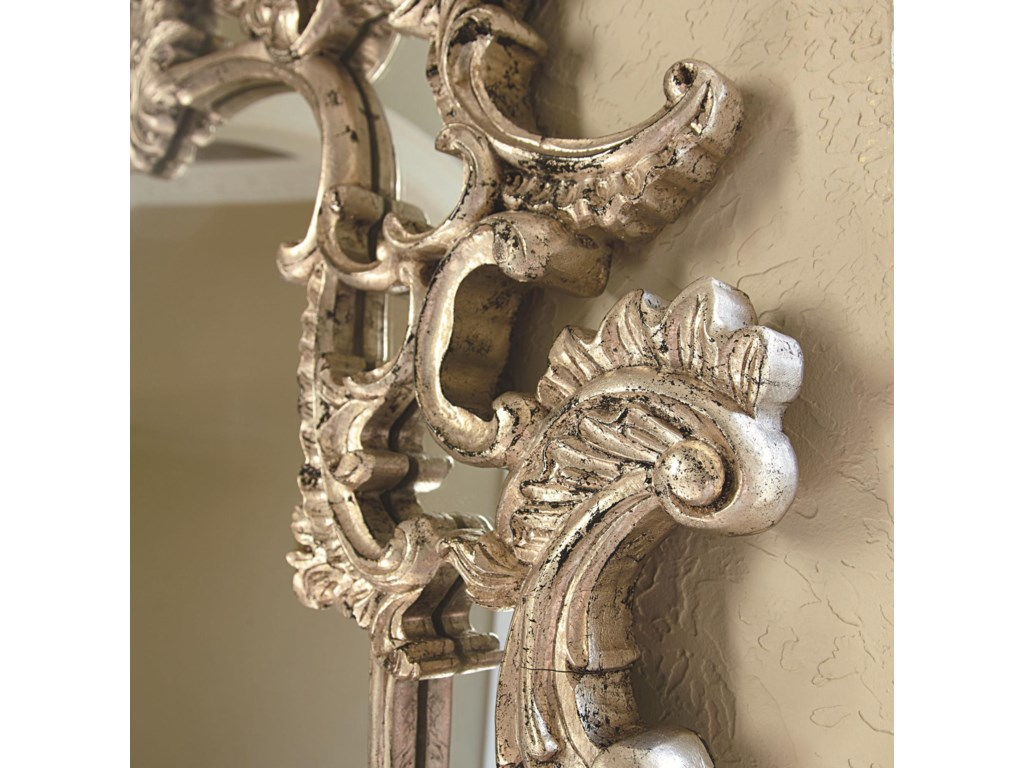 Detail of Carved Frame with Silver Veil Finish