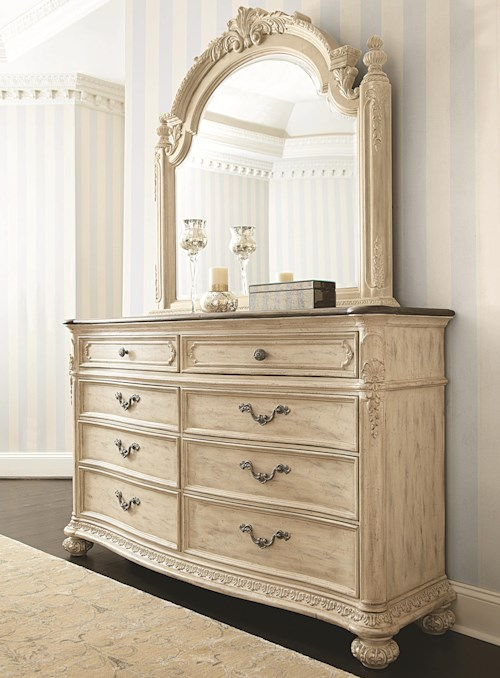 American Drew Jessica McClintock Home - The Boutique Collection 8 Drawer Dresser & Landscape Mirror
