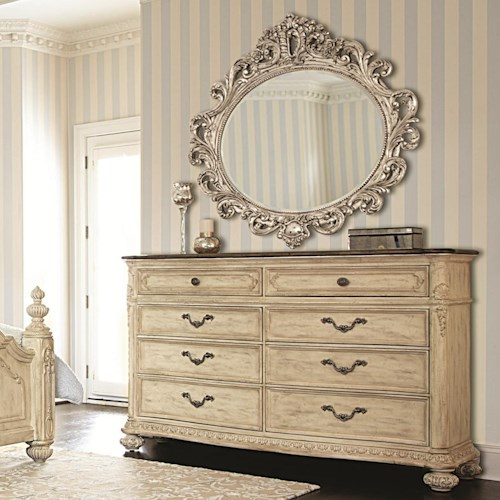 American Drew Jessica McClintock Home - The Boutique Collection 8 Drawer Dresser & Oval Decorative Mirror